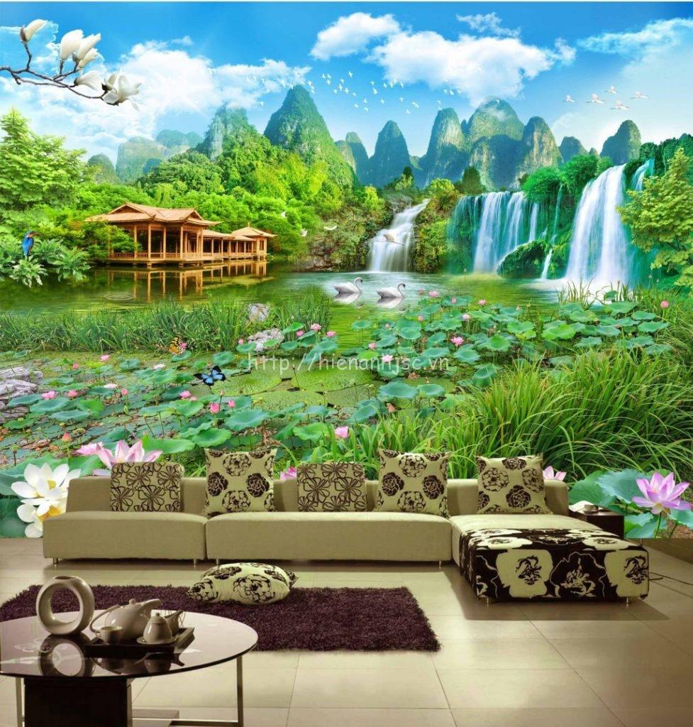 Tranh dán tường phong cảnh hồ thác nước 5D phòng khách