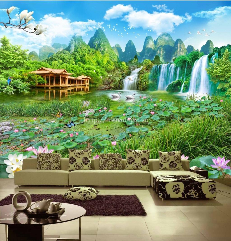 Tranh 5D dán tường phong cảnh ao sen thác nước - 5D073