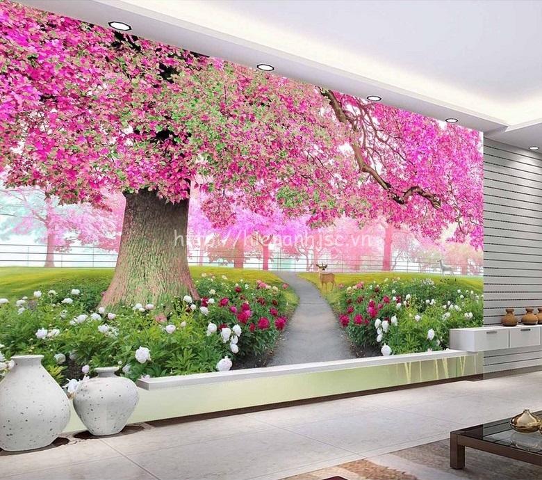 Tranh dán tường 5D - Tranh con đường hoa tím 5D074