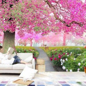 Tranh dán tường 5D hoa anh đào