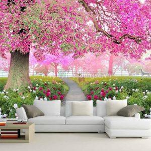 Tranh cây hoa anh đào tím - 5D074