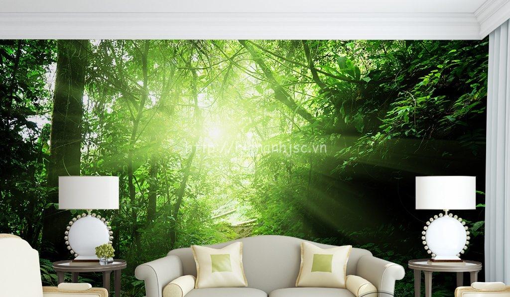 Tranh dán tường 5D chủ đề rừng xanh phòng khách - 5D076