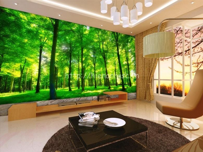 Tranh dán tường 3D bối cảnh rừng xanh bên hiên nhà