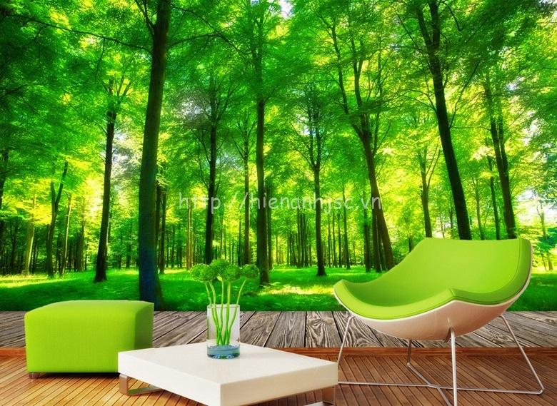 Tranh dán tường 5D - Tranh rừng xanh bên hiên nhà 5D077