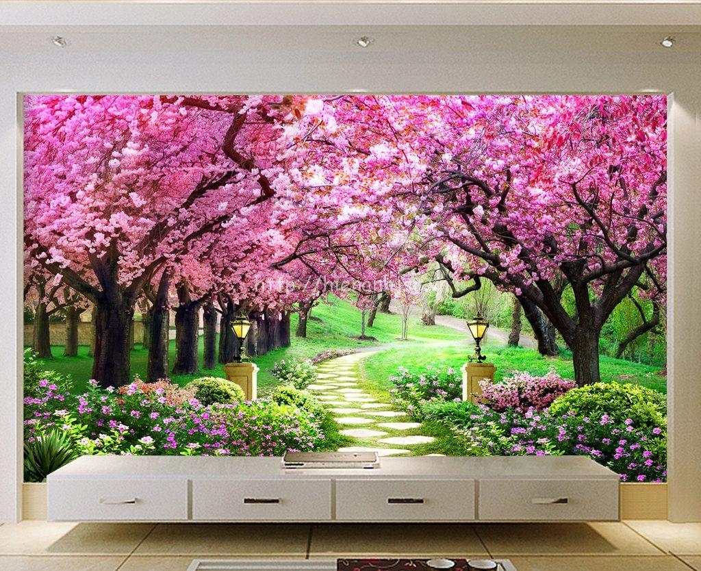 Tranh 5D con đường hoa anh đào đẹp phòng khách