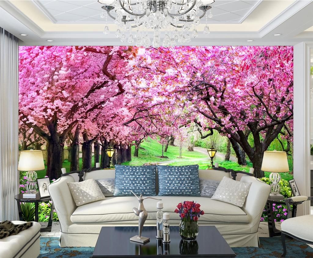 Tranh dán tường hoa anh đào phòng khách - 5D079