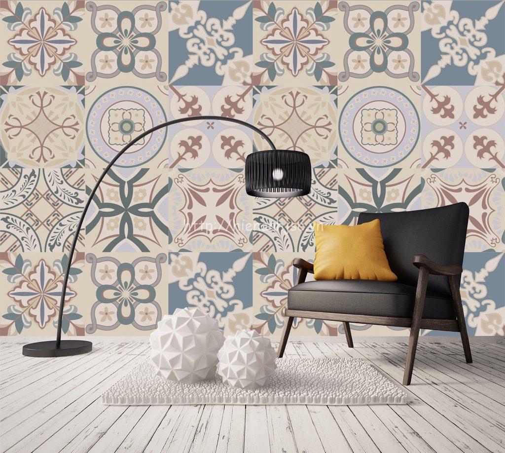 Giấy dán tường giả gạch hoa hiện đại