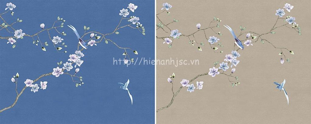 Tranh dán tường 5D - Tranh hoa mộc lan phong cách vẽ tay 5D081