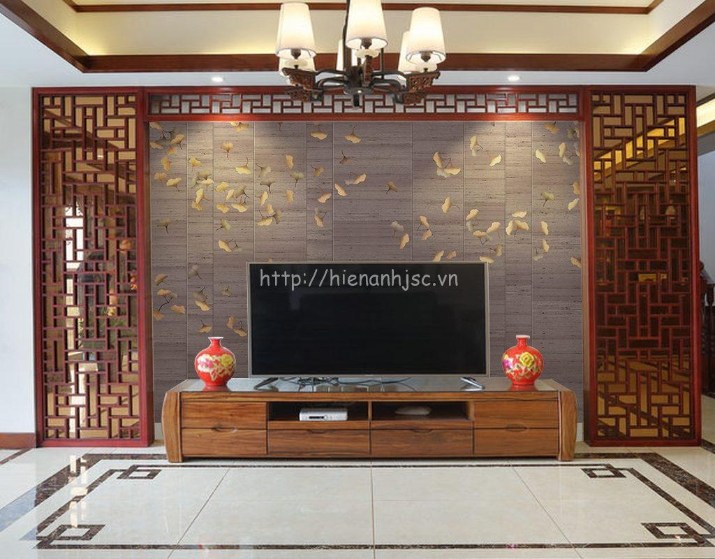 Tranh dán tường 5D - Hoa ginkgo phong cách vẽ tay 5D082