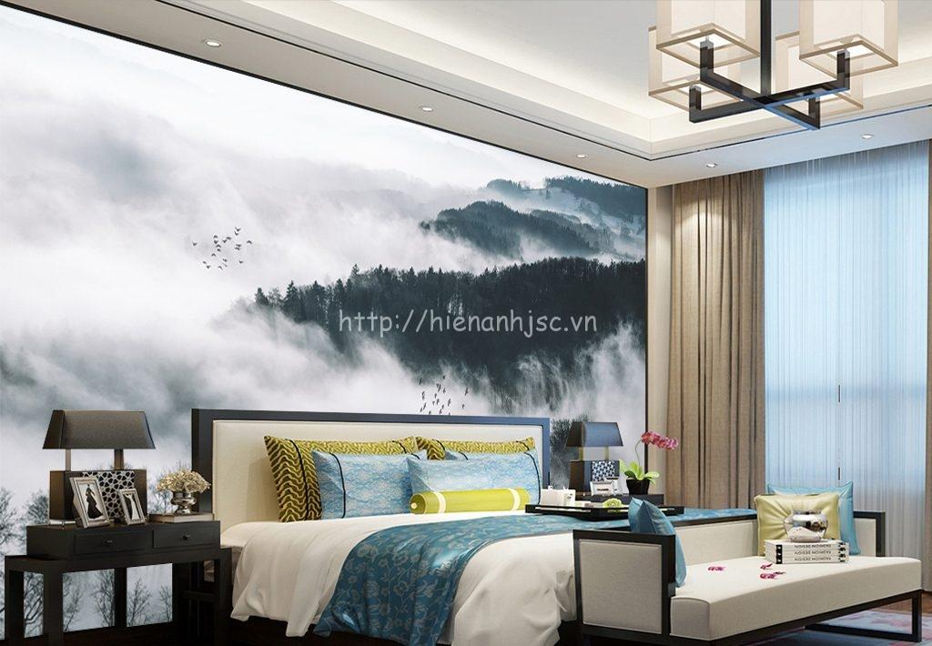 Tranh dán tường 5D - Tranh núi cao sương mù 5D036