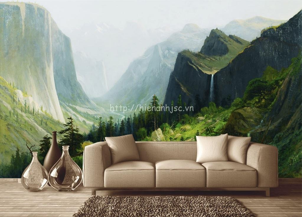 Tranh 5D khổ lớn cảnh vách núi cho phòng khách