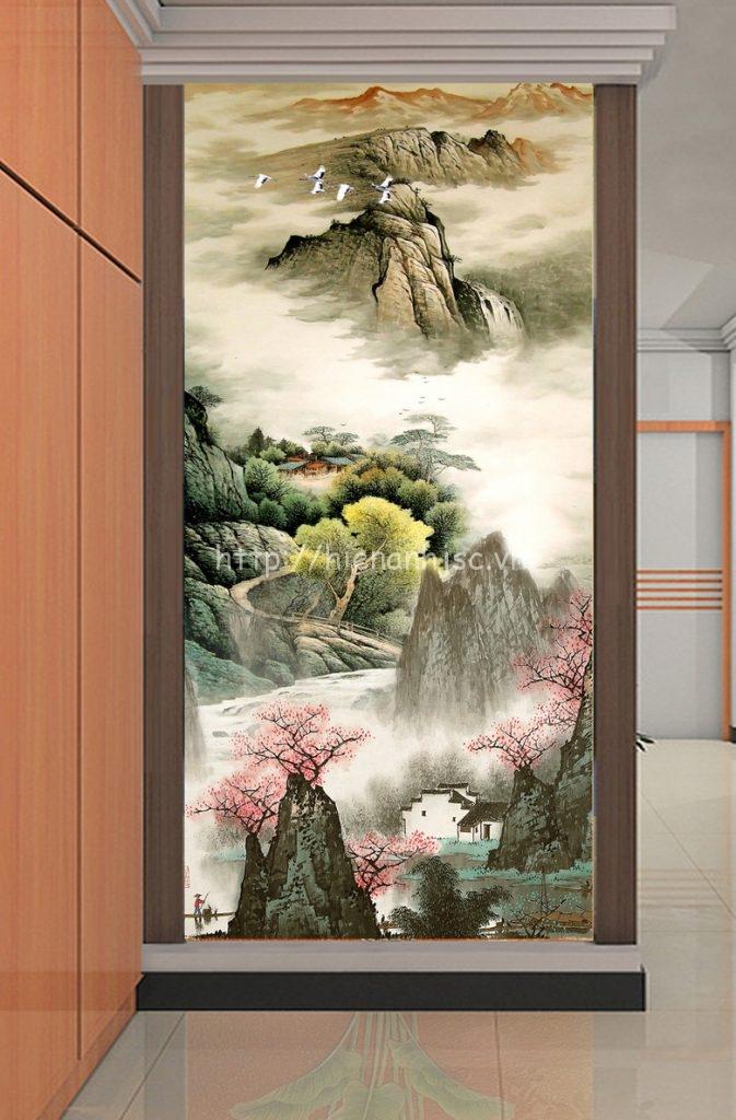 Tranh dán tường 5D - Tranh núi sương mờ dán hành lang 5D041