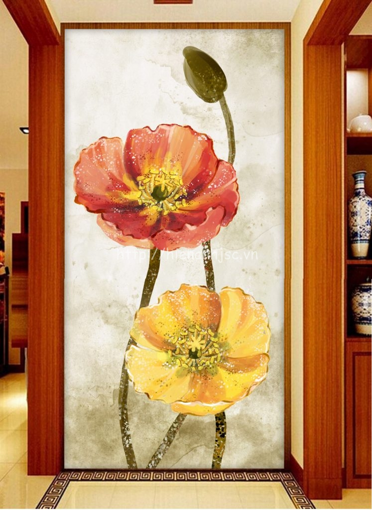 Tranh dán tường 5D - Tranh hoa phong cách vẽ tay dán hành lang 5D042