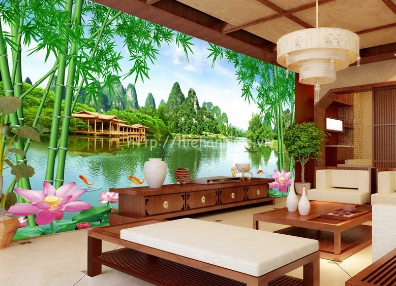 Tranh dán tường 5D cho phòng khách tại Hoàn Kiếm- 5D062