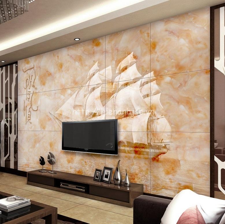 Giấy dán tường giả đá tranh thuyền buồm 5D