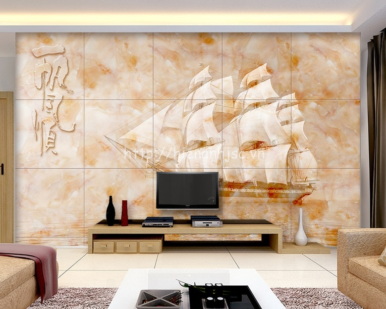 Tranh dán tường 5D - Tranh thuận buồm xuôi gió giả đá cẩm thạch 5D063