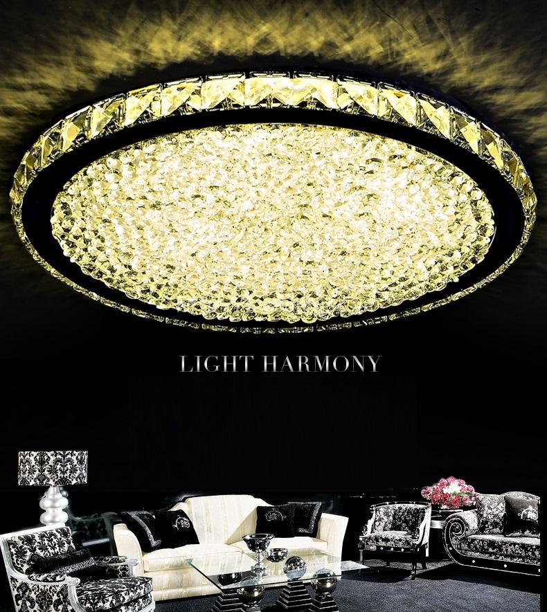 Đèn trần trang trí ánh sáng pha lê tròn hiện đại