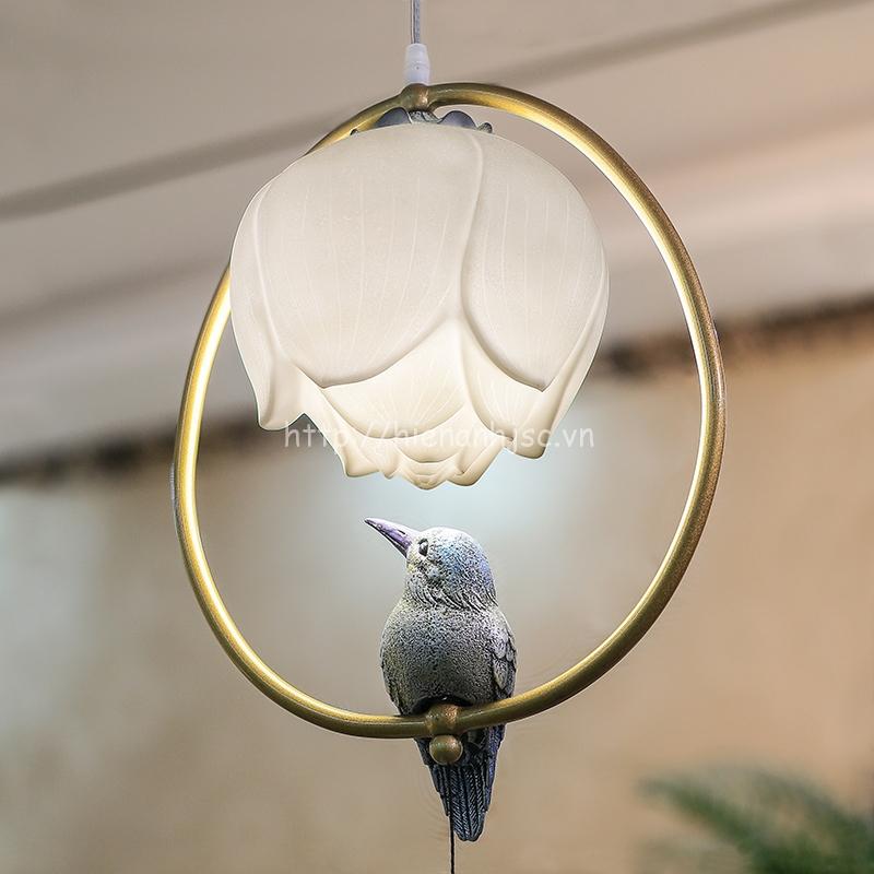 Đèn thả trang trí thiết kế bông sen và chim