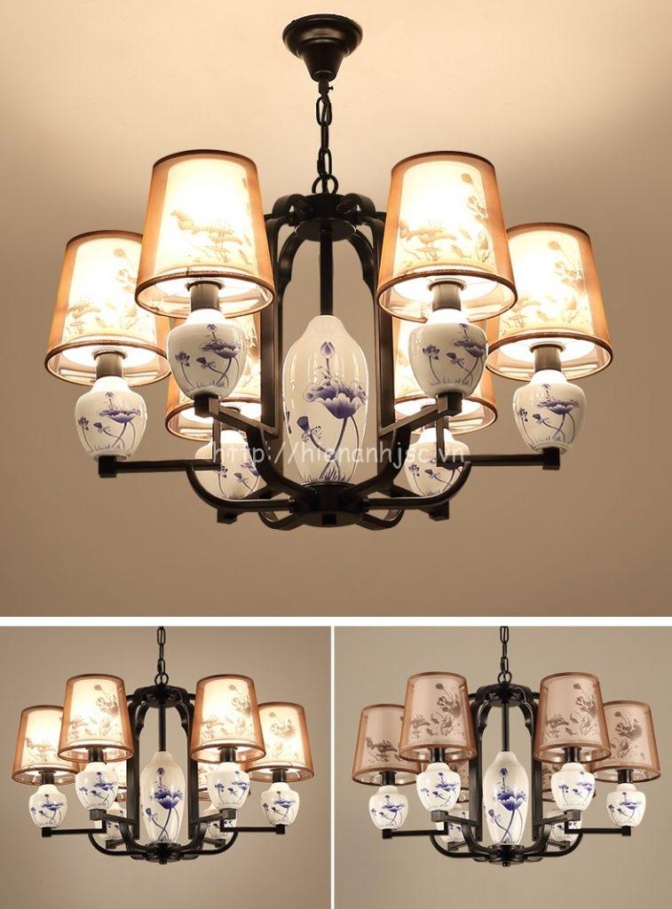 Đèn chùm trang trí phối chậu gốm phong cách Trung Hoa