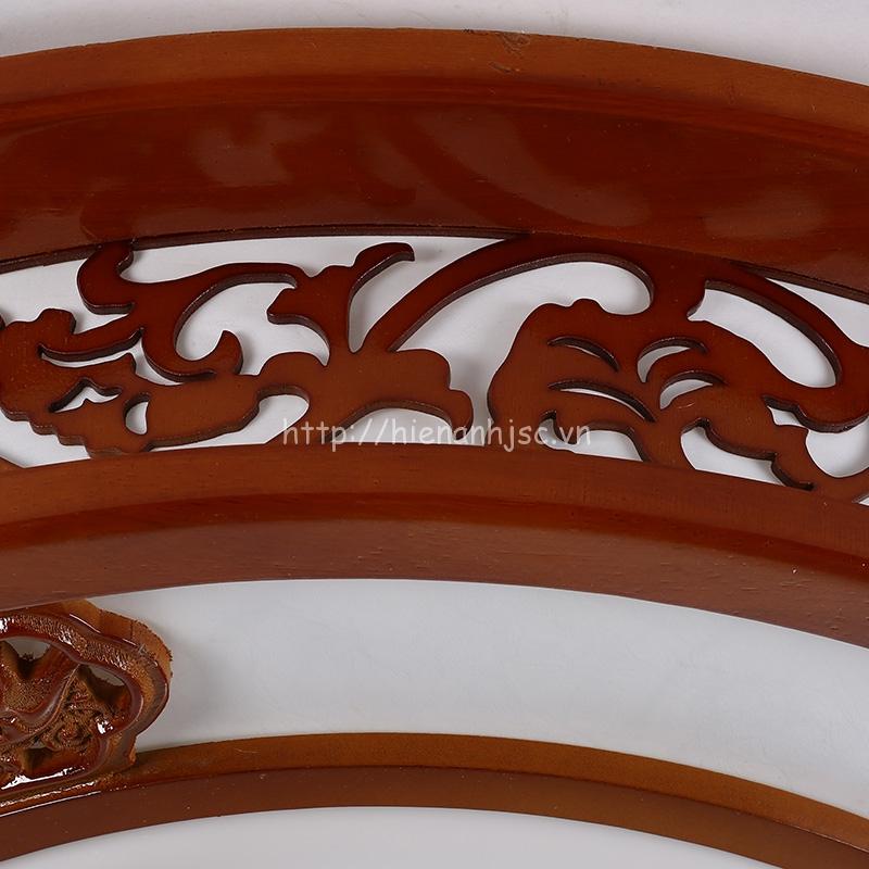 Đèn trần trang trí hình tròn chất liệu gỗ phong cách Trung Hoa
