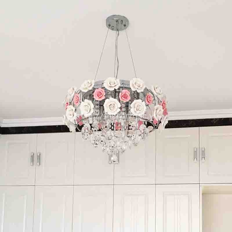 Đèn chùm trang trí hoa hồng phong cách Châu Âu DTT013