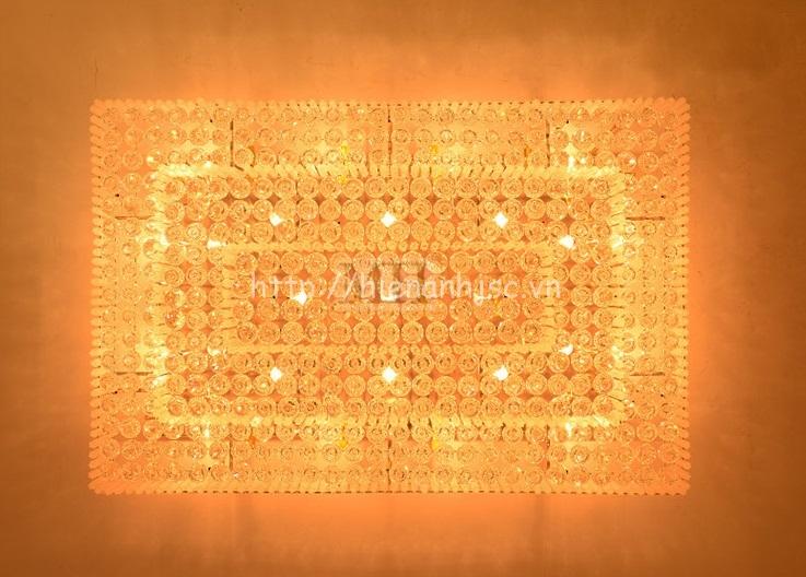 Đèn trần trang trí pha lê thả hình chữ nhật