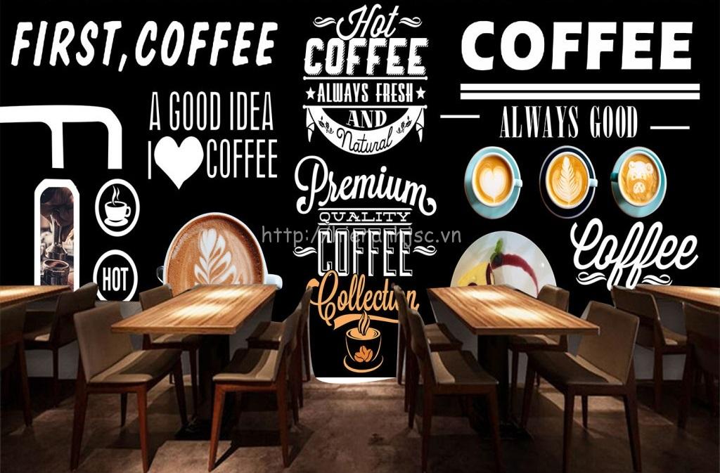 Một ý tưởng tốt cho quán cà phê với mẫu tranh dán tường này