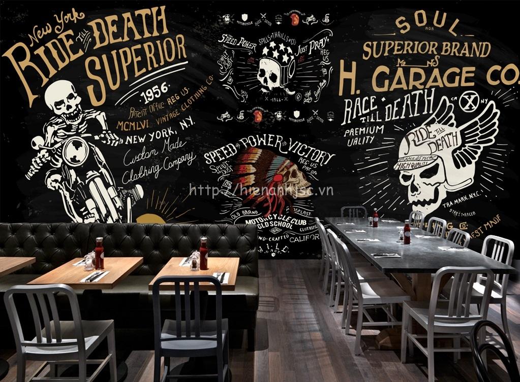 Với những bạn thích tạo ra một không gian độc đáo cá tính hãy sử dụng cho tranh dán tường cho quán cafe mẫu tranh ấn tượng này