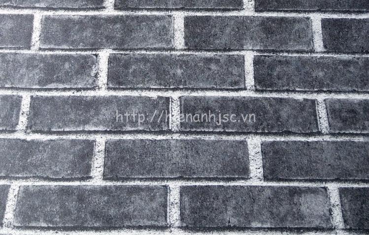 Giấy dán tường 3D - Giấy dán tường họa tiết giả gạch màu đen
