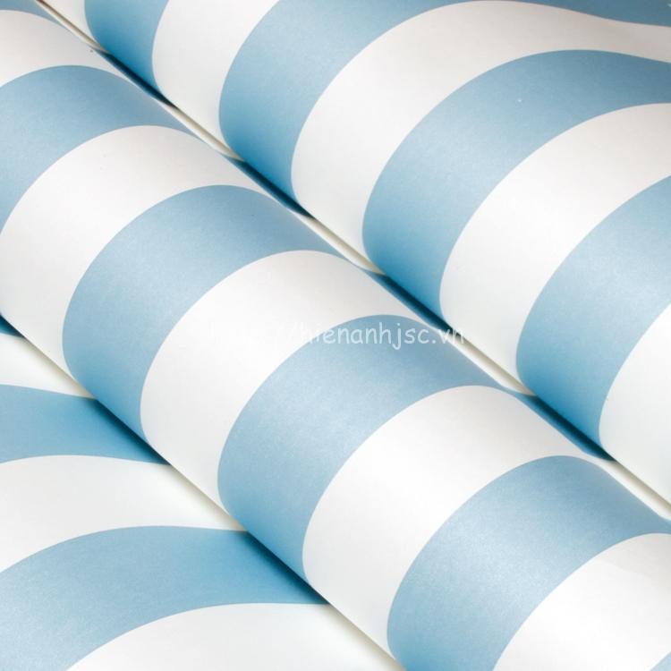 Cuộn giấy dán tường 3D - Họa tiết kẻ sọc trắng xanh