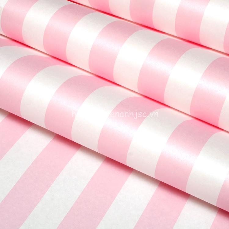 Cuộn giấy dán tường 3D - Họa tiết kẻ sọc trắng hồng