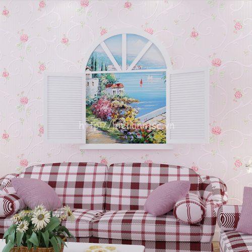 3D099-3-giay dan tuong 3d hoa tiet hoa hong