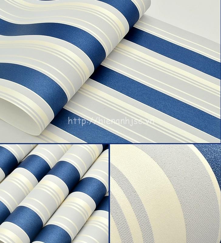 Giấy dán tường 3D - Họa tiết kẻ sọc xanh trắng hiện đại 3D014
