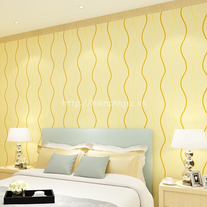 Giấy dán tường 3D - Họa tiết vân sóng lượn đơn giản 3D106 vàng dán phòng ngủ