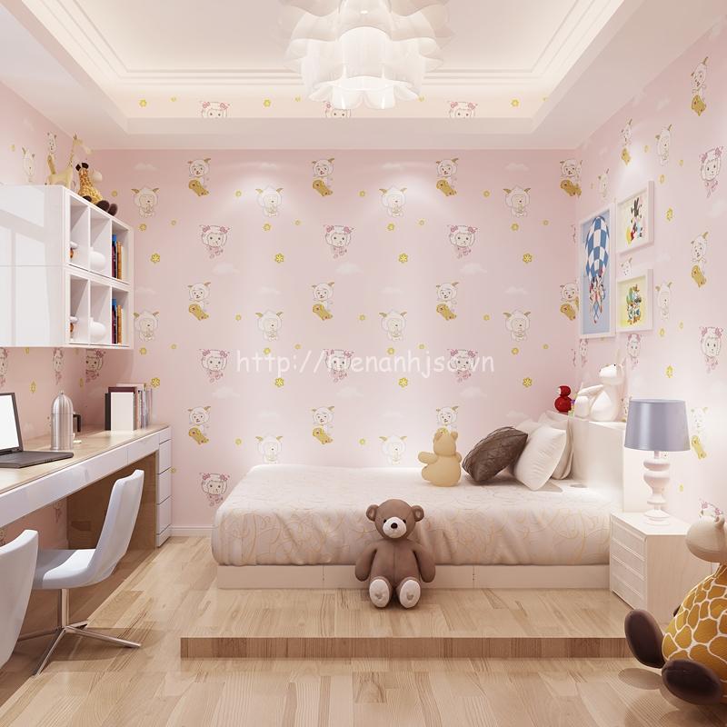 Giấy dán tường 3D cho bé - Họa tiết cừu vui vẻ màu hồng