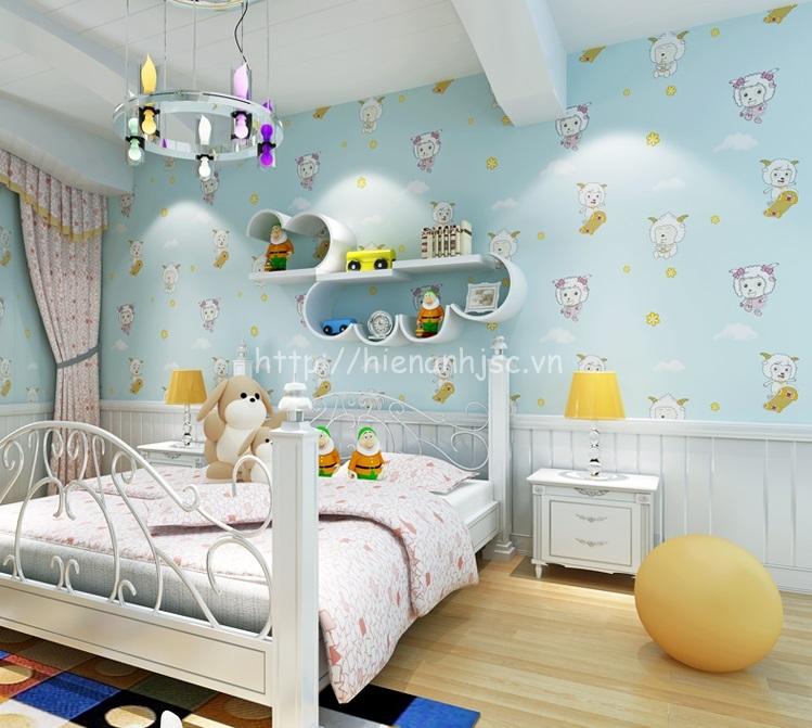 Giấy dán tường phòng ngủ trẻ em họa tiết cừu vui vẻ ởNamĐịnh