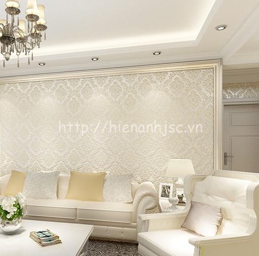 Giấy dán tường dập nổi tông màu trắng phòng khách cổ điển - 3D108