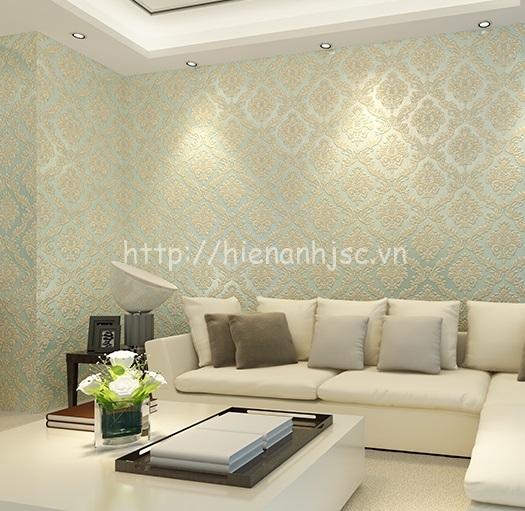 Giấy dán tường dập nổi cho phòng khách tân cổ điển - 3D108