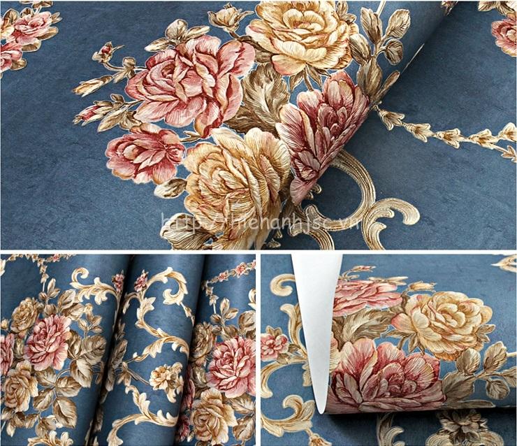 Giấy dán tường 3D - Họa tiết hoa hồng phong cách Âu Mỹ dập nổi 3D110 màu 1