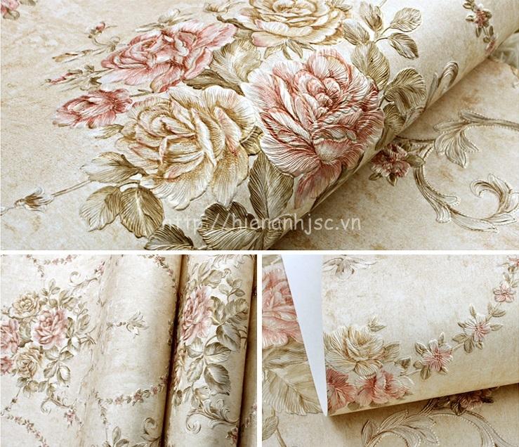 Giấy dán tường 3D - Họa tiết hoa hồng phong cách Âu Mỹ dập nổi 3D110 màu 2