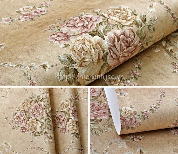 Giấy dán tường 3D - Họa tiết hoa hồng phong cách Âu Mỹ dập nổi 3D110 màu 3