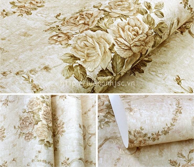 Giấy dán tường 3D - Họa tiết hoa hồng phong cách Âu Mỹ dập nổi 3D110 màu 4