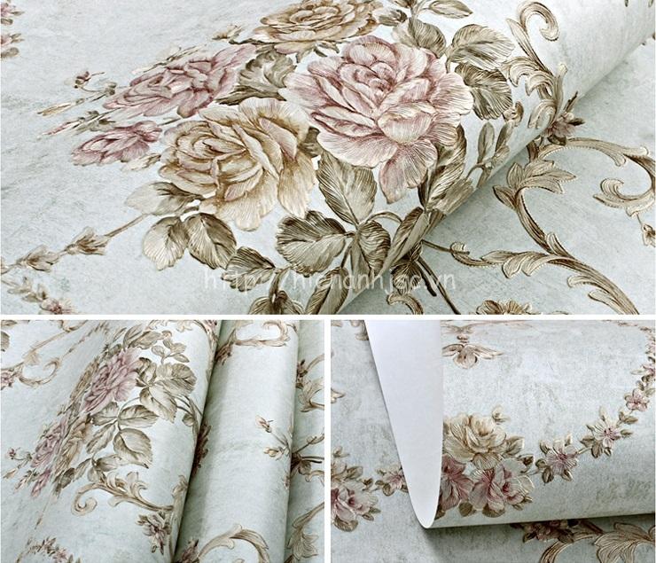 Giấy dán tường 3D - Họa tiết hoa hồng phong cách Âu Mỹ dập nổi 3D110 màu 5