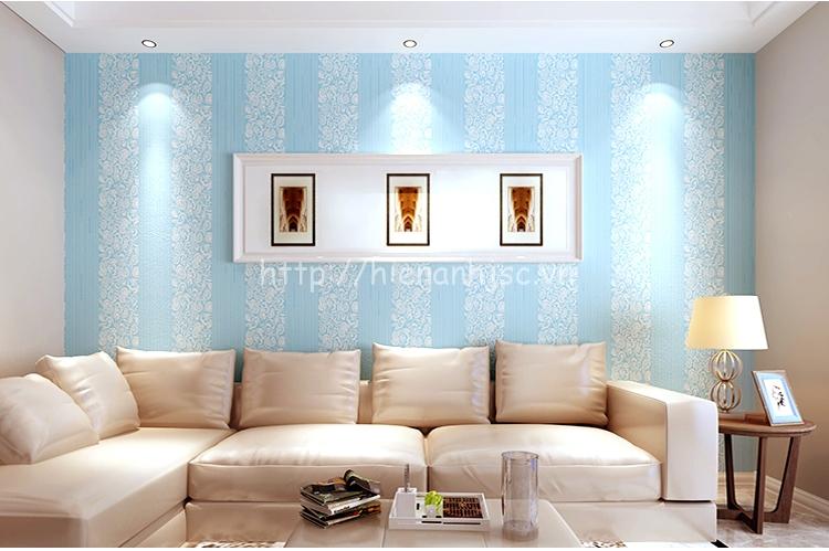 Giấy dán tường 3D - Họa tiết hoa văn kết hợp kẻ sọc 3D112 xanh