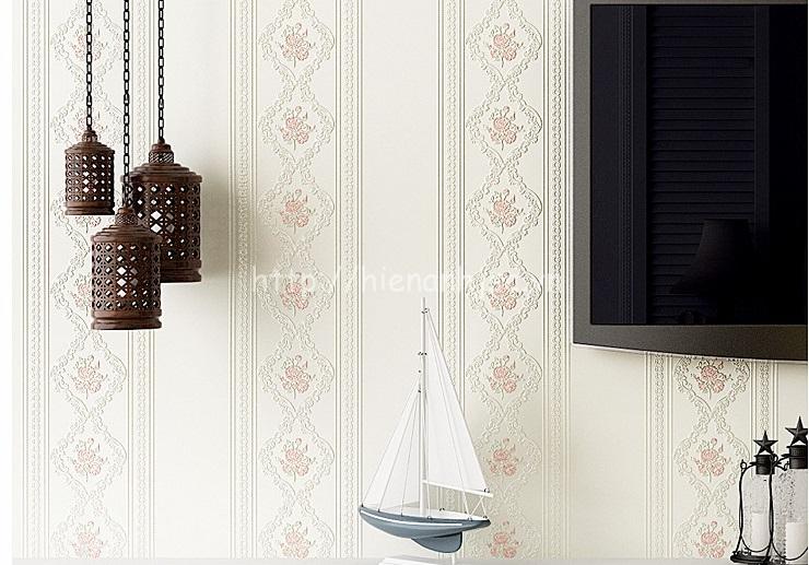 Giấy dán tường 3D - Họa tiết hoa hồng kẻ sọc 3D114 trắng
