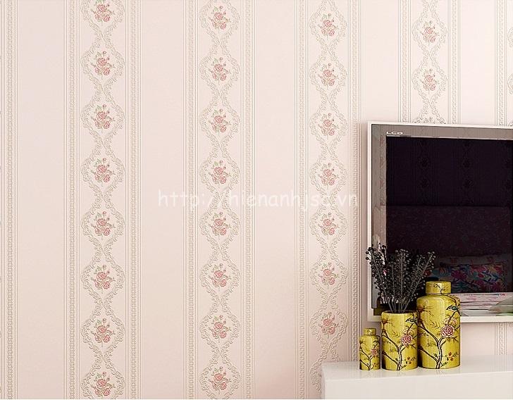 Giấy dán tường 3D - Họa tiết hoa hồng kẻ sọc 3D114 hồng