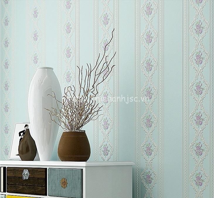 Giấy dán tường 3D - Họa tiết hoa hồng kẻ sọc 3D114 xanh