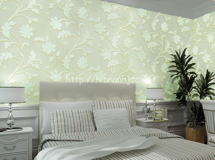 Giấy dán tường 3D - Họa tiết hoa lá mẫu đơn sang trọng 3D126 màu xanh
