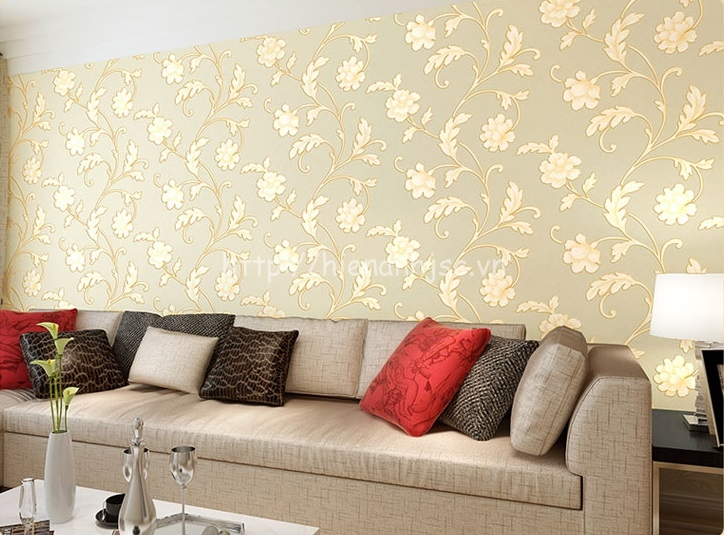 Giấy dán tường 3D - Họa tiết hoa lá mẫu đơn sang trọng 3D126 màu vàng