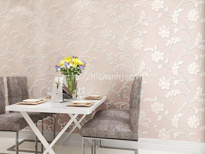 Giấy dán tường 3D - Họa tiết hoa lá mẫu đơn sang trọng 3D126 màu hồng